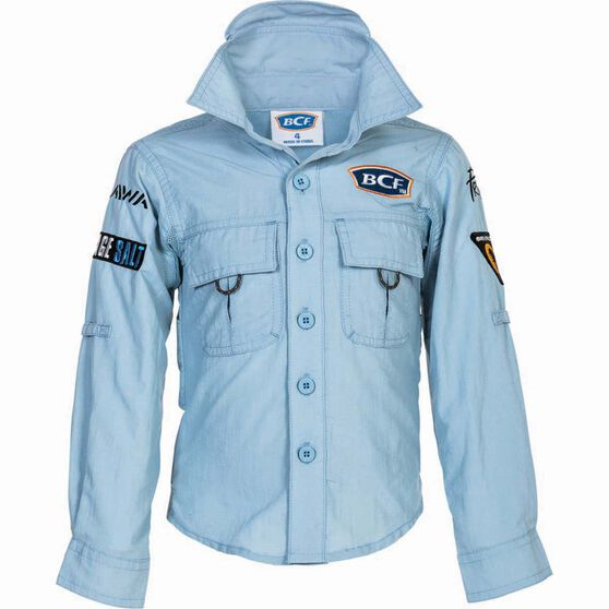 BCF Kids' Long Sleeve Fishing Shirt Spray 14, Spray, bcf_hi-res