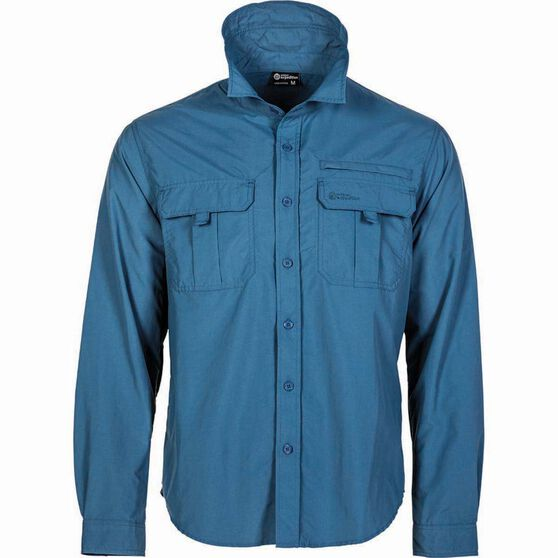 Outdoor Expedition Men's Vented Short Sleeve Shirt Dark Blue XL, Dark Blue, bcf_hi-res