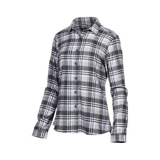 OUTRAK Women's Yarn Dye Flannel Shirt Grey / Purple 12, Grey / Purple, bcf_hi-res