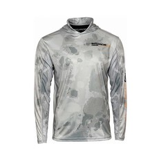 Savage  Men's Long Sleeve Hooded Sublimated Polo Grey S, Grey, bcf_hi-res