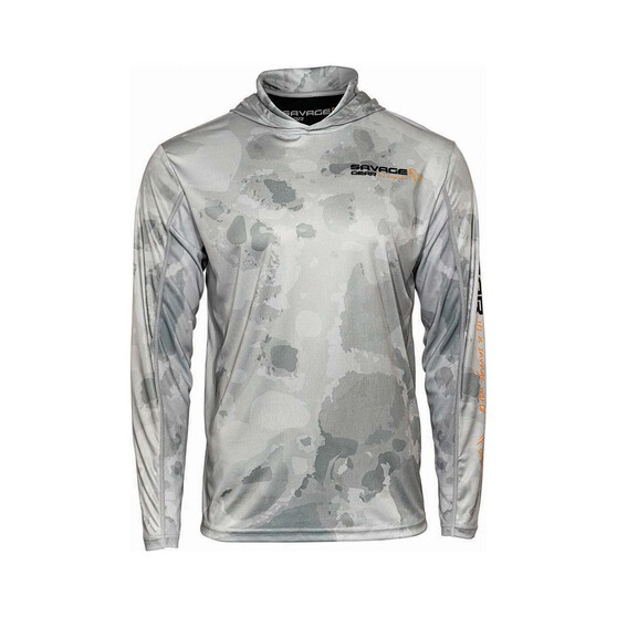 Savage  Men's Long Sleeve Hooded Sublimated Polo, Grey, bcf_hi-res