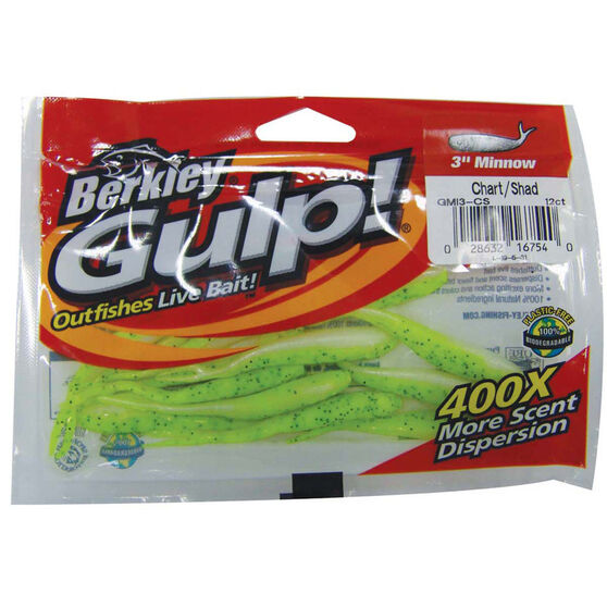 Berkley Gulp Minnow Soft Plastic Lure 3in Chartreuse, Chartreuse, bcf_hi-res