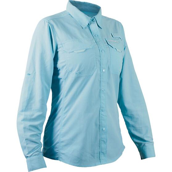 Shimano Women's Vented Long Sleeve Shirt Aqua 8, Aqua, bcf_hi-res