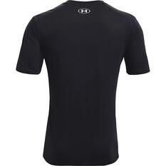 Under Armour Men's Fish Hook Logo Short Sleeve Tee, Black / Halo Grey, bcf_hi-res