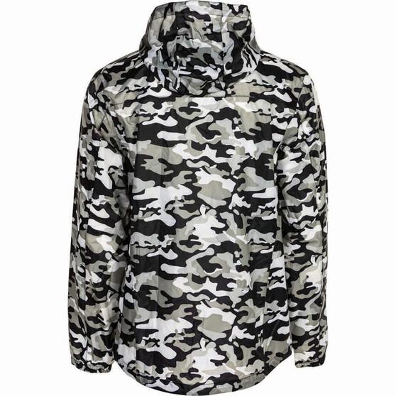 OUTRAK Printed Packaway Rain Jacket, Black Camo, bcf_hi-res