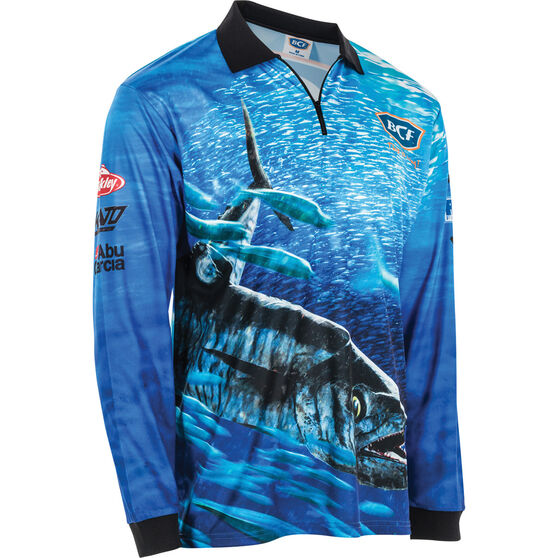 BCF Men's Spanish Mackerel Sublimated Polo, Blue, bcf_hi-res