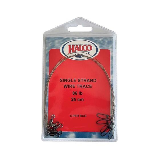 Halco Single Strand 86lb Trace Wire 25cm - 5pk, , bcf_hi-res