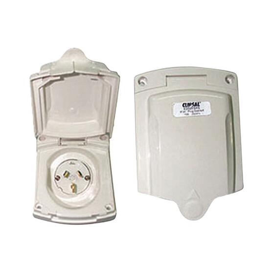 Camec Power Inlet, New Style - 15 AMP, White, , bcf_hi-res
