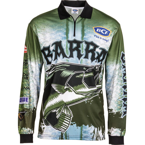 BCF Men's Barra Sublimated Polo Deep Olive L, Deep Olive, bcf_hi-res