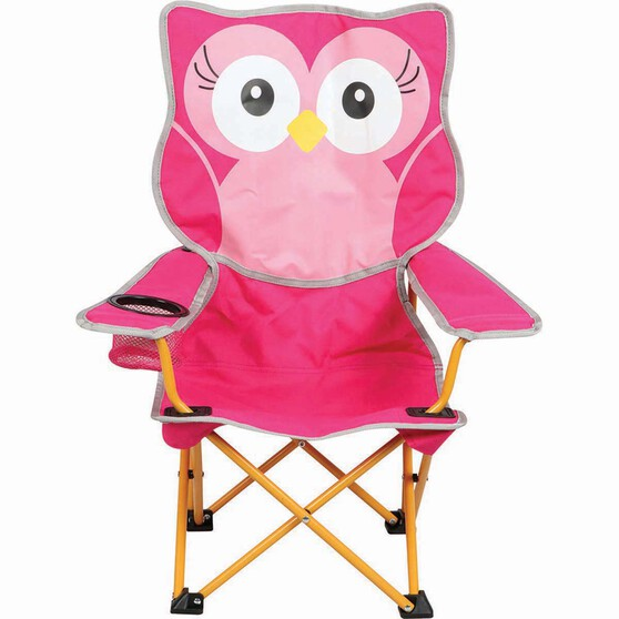 Kids' Animal Camp Chair Pink Owl, Pink Owl, bcf_hi-res
