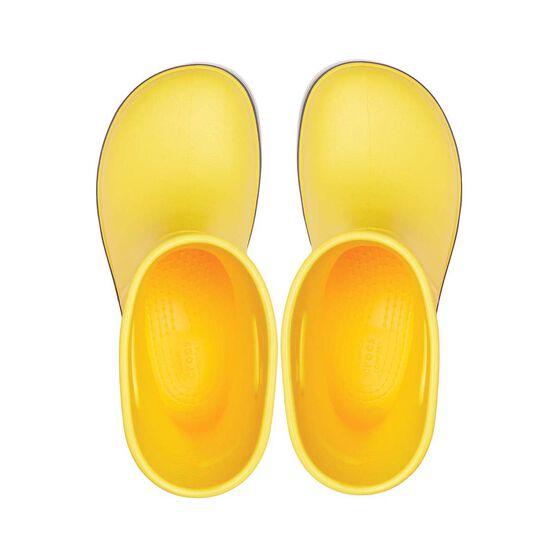 Crocs Kids Crocband Rainboot, Yellow / Navy, bcf_hi-res