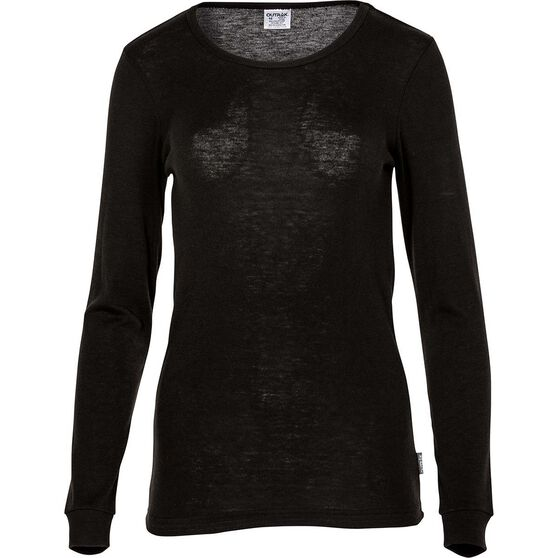 OUTRAK Women's Polypro Long Sleeve Top, Black, bcf_hi-res