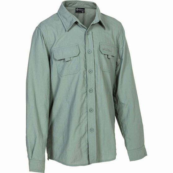 Outdoor Expedition Kid's Vented Long Sleeve Fishing Shirt 8 Iron 8, Iron, bcf_hi-res