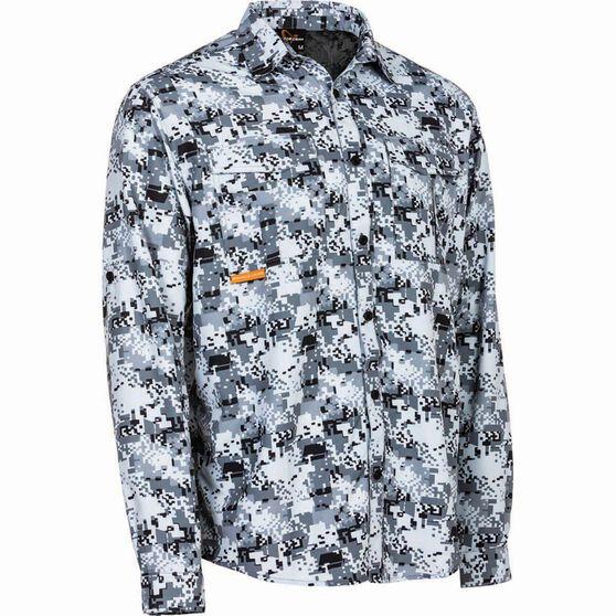 Savage Men's Digi Long Sleeve Fishing Shirt, Grey, bcf_hi-res