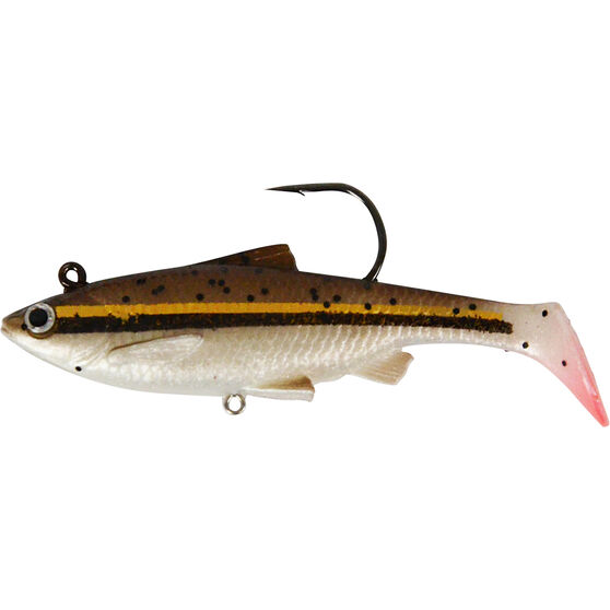 Savage Swim Mullet Soft Plastic Lure 8.5cm, Gold Minnow, bcf_hi-res