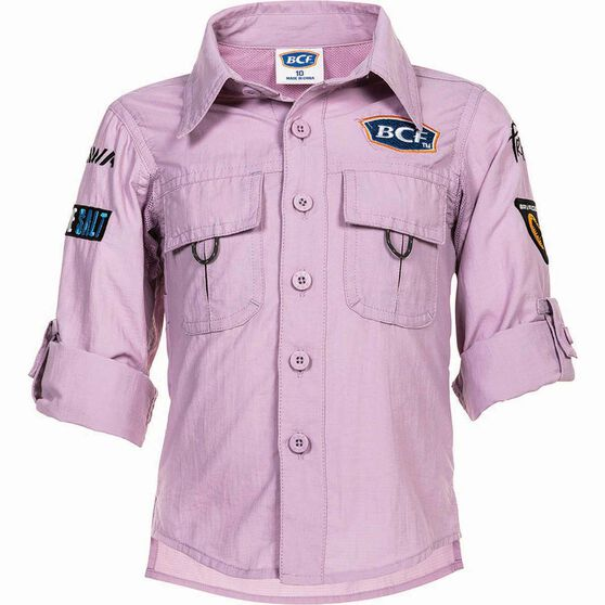 BCF Kids' Long Sleeve Fishing Shirt Orchid 7, Orchid, bcf_hi-res