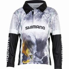 Shimano Kids' Squid Sublimated Polo Black / Grey / White 4, , bcf_hi-res