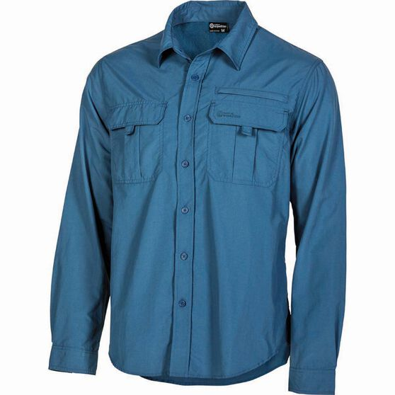 Outdoor Expedition Men's Vented Long Sleeve Shirt Dark Blue M, Dark Blue, bcf_hi-res