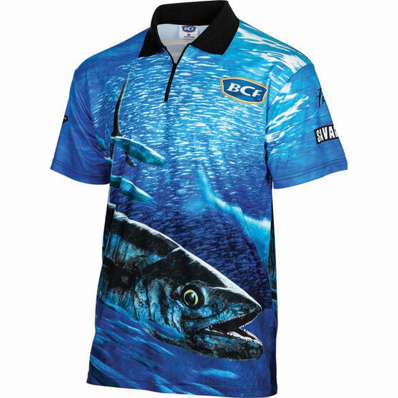 BCF Men's Spanish Mack Short Sleeve Sublimated Polo Blue 2XL, Blue, bcf_hi-res