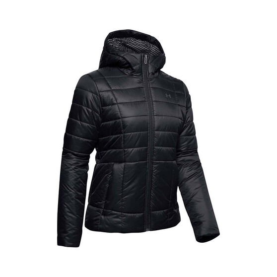 Under Armour Women's Hooded Insulated Jacket, Black / Jet Gray, bcf_hi-res