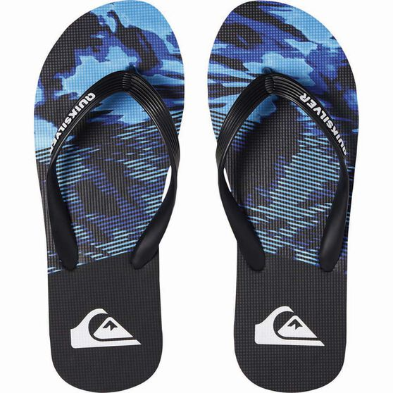 Quiksilver Waterman Men's Molokai Night Marcher Thongs, Black / Blue, bcf_hi-res