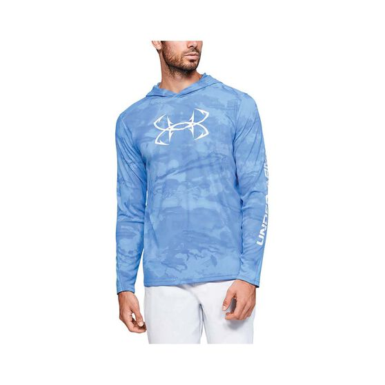 Under Armour Men's Isochill Shorebreak Camo Sublimated Hoodie, Blue / White, bcf_hi-res