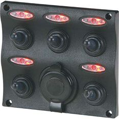 Blueline LED Switch Panel 5 Gang with Socket, , bcf_hi-res