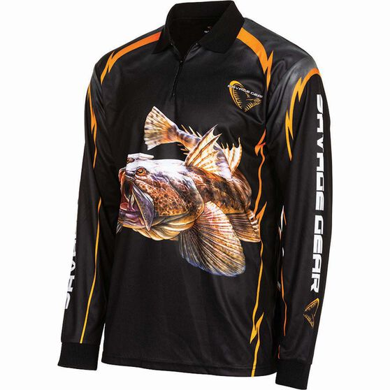 Savage Men's Flathead Sublimated Polo Black XL, Black, bcf_hi-res
