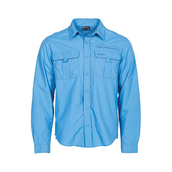 Outdoor Expedition Men's Long Sleeve Fishing Shirt, Blue, bcf_hi-res