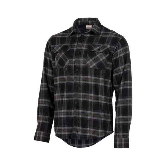 OUTRAK Men's Yarn Dye Flannel Shirt Grey 2XL, Grey, bcf_hi-res