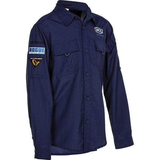 BCF Kids' Long Sleeve Fishing Shirt Navy 4, Navy, bcf_hi-res