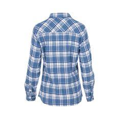 OUTRAK Women's Yarn Dye Flannel Shirt, Blue / White, bcf_hi-res