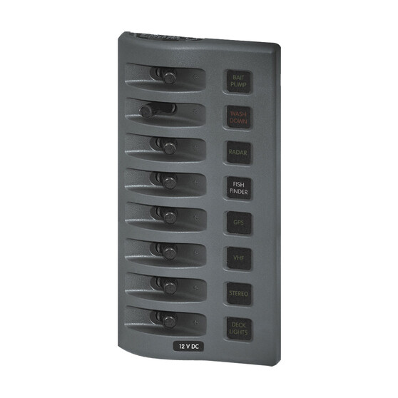 Blue Sea Systems 6 way WeatherDeck Gray Switch Panel - Fused, , bcf_hi-res