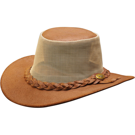 OUTBACK LEATHER Men's Indiana Leather and Mesh Hat, Brown, bcf_hi-res