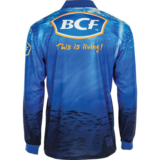 BCF Men's Marlin Sublimated Polo Blue L, Blue, bcf_hi-res
