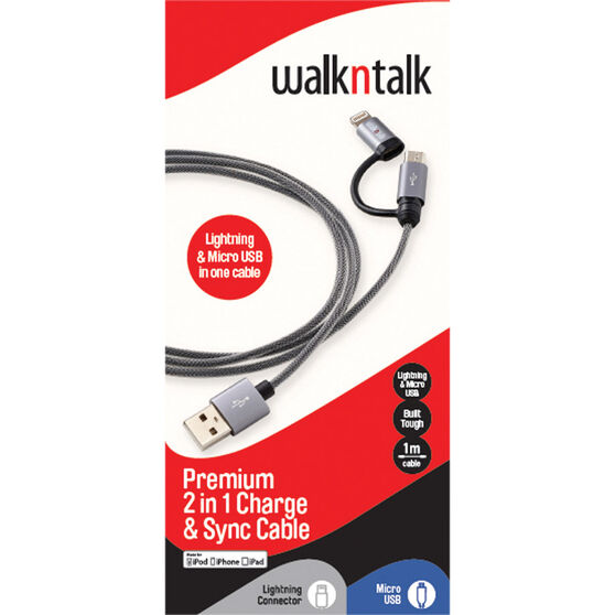 Walkntalk 2 In 1 Charge and Sync Cable, , bcf_hi-res