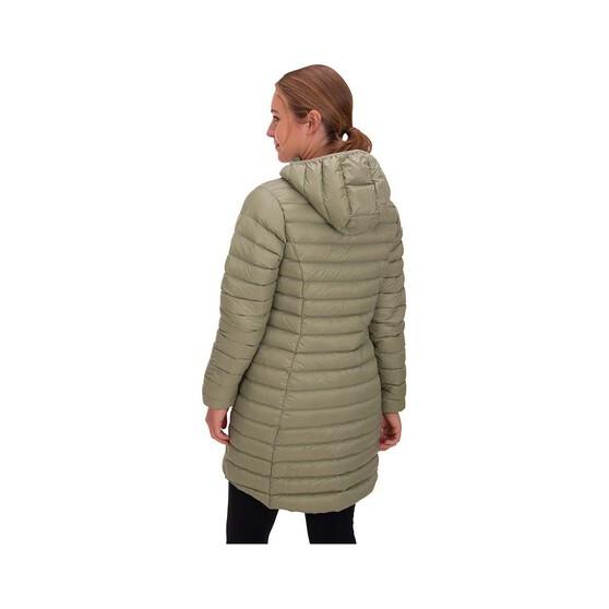 Macpac Women's Uber Light Long Jacket, Oil Green, bcf_hi-res