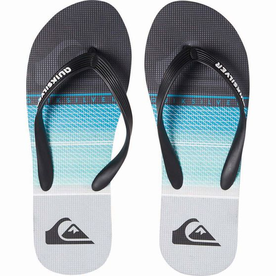 Quiksilver Men's Molokai Highline Slab Thongs, Black / Blue / Grey, bcf_hi-res