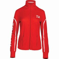 Daiwa Women's Stretch Zip Sublimated Polo, Coral, bcf_hi-res