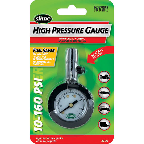 Slime High Pressure Tyre Gauge - 10-160 PSI, , bcf_hi-res