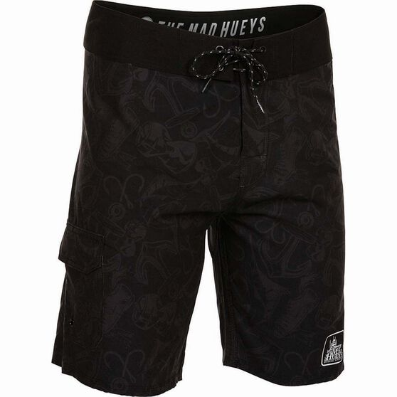 The Mad Hueys Men's Offshore Tacklebox Boardshorts, Black, bcf_hi-res