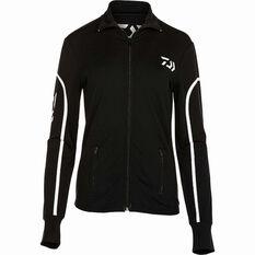 Daiwa Women's Stretch Zip Sublimated Polo Black 8, Black, bcf_hi-res