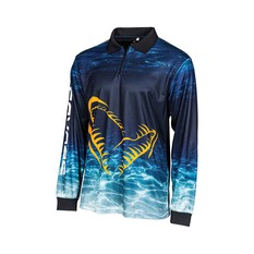 Savage Gear Men's Deep Blue Sublimated Polo Blue S, Blue, bcf_hi-res