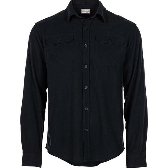 OUTRAK Men's Yarn Dye Flannel Shirt Black XL, Black, bcf_hi-res