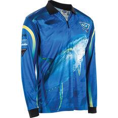 BCF Men's Yellowfin Tuna Sublimated Polo Blue S, Blue, bcf_hi-res