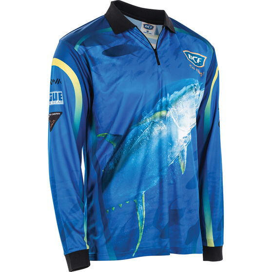 BCF Men's Yellowfin Tuna Sublimated Polo, Blue, bcf_hi-res