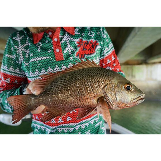 Tide Apparel Men's Fishmas Fishing Jersey, Green / Red, bcf_hi-res