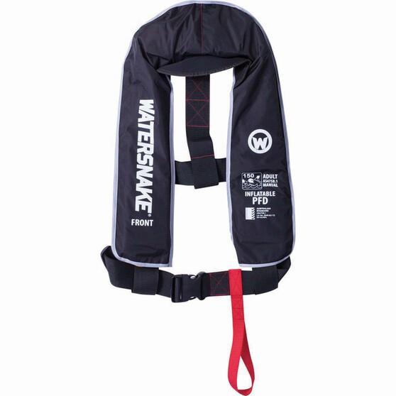 Watersnake Adult Manual Inflatable PFD Black, Black, bcf_hi-res