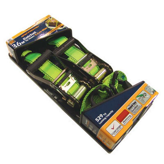 Gripwell Ratchet Tie Down - 3.6m, 529kg, 2 Pack, , bcf_hi-res