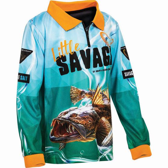 Savage Kids' Flathead Sublimated Polo, Green, bcf_hi-res